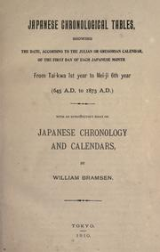 Cover of: Japanese chronological Tables | William Bramsen