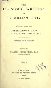 Cover of: The Economic Writings of Sir William Petty | Petty, William Sir, Charles Henry Hull