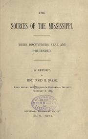 Cover of: The sources of the Mississippi by Baker, James H.