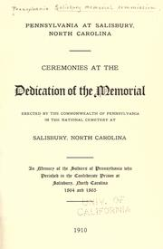 Cover of: Pennsylvania at Salisbury, North Carolina | Pennsylvania. Salisbury Memorial Commission.
