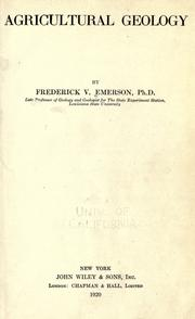 Cover of: Agricultural geology | Frederick V. Emerson