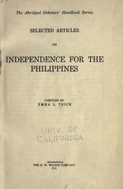 Cover of: ... Selected articles on independence for the Philippines | Emma Louise Teich