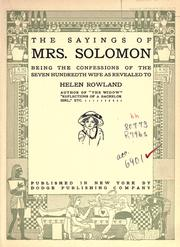 Cover of: The sayings of Mrs. Solomon | Helen Rowland