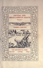 thomas carlyle critical and miscellaneous essays Critical and miscellaneous essays, early kings of norway, and essays on the portraits of john knox, volumes 7-8 paperback - 2 oct 2011 by thomas carlyle (author.