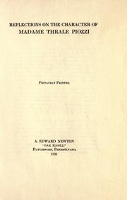 Cover of: Reflections on the character of Madame Thrale Piozzi | A. Edward Newton