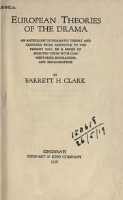 Cover of: European theories of the drama by Clark, Barrett Harper