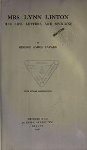 Cover of: Mrs. Lynn Linton by Layard, George Somes