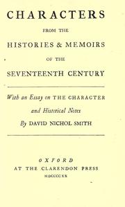 Cover of: Characters from the histories & memoirs of the seventeenth century | David Nichol Smith