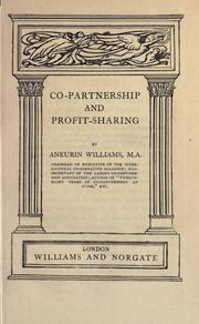 Cover of: Co-partnership and profit-sharing | Aneurin Williams