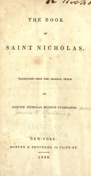 Cover of: The book of Saint Nicholas | Paulding, James Kirke