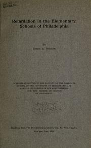 Cover of: Retardation in the elementary schools of Philadelphia | Phillips, Byron Armbruster i.e. George Byron Armbruster.