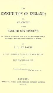 Cover of: Constitution de l'Angleterre | Jean Louis de Lolme