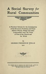 Cover of: A social survey for rural communities | George Frederick Wells