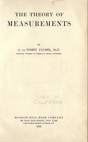 Cover of: The theory of measurements | Albert de Forest Palmer