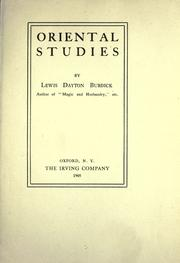 Cover of: Oriental studies | Lewis Dayton Burdick