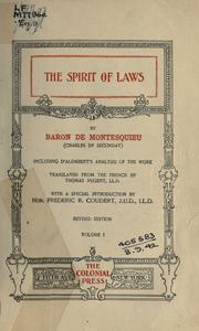 The spirit of laws, including d'Alembert's analysis of the work