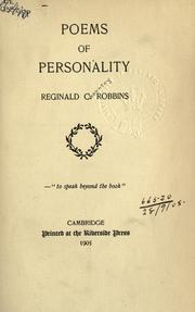 Cover of: Poems of personality | Robbins, Reginald Chauncey