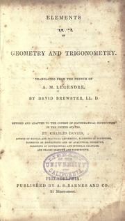 Cover of: Elements of geometry and trigonometry | A. M. Legendre