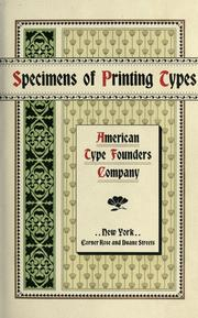 Cover of: Specimens of printing types by American Type Founders Company.