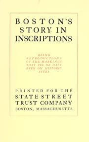 Cover of: Boston's story in inscriptions | State Street Trust Company (Boston, Mass.)