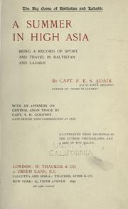 Cover of: The big game of Baltistan and Ladakh by Adair, Frederick Edward Shafto Sir, 4th Baron