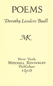 Cover of: Poems by Dorothy Landers Beall