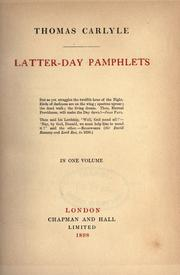 Cover of: Latter-day pamphlets by Thomas Carlyle