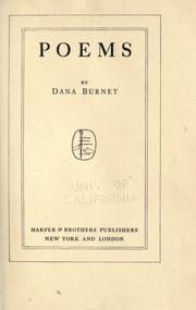 Cover of: Poems by Dana Burnet