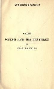 Cover of: Joseph and his brethren | Wells, Charles