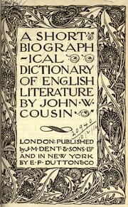 Cover of: A short biographical dictionary of English literature | John William Cousin