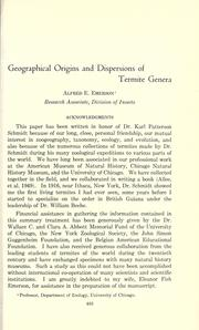 Cover of: Geographical origins and dispersions of termite genera by Alfred Edwards Emerson