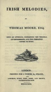 Cover of: Irish melodies | Thomas Moore