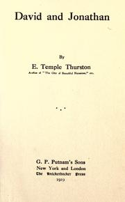 Cover of: David and Jonathan | Ernest Temple Thurston