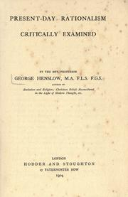 Cover of: Present-day rationalism | Henslow, George