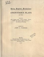 Cover of: Anonymous plays | Farmer, John Stephen