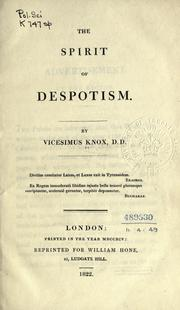 Cover of: The spirit of despotism by Vicesimus Knox