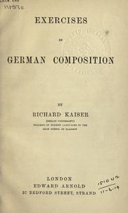 Cover of: Exercises in German composition | Richard Kaiser