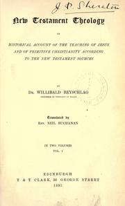 Cover of: Neutestamentliche Theologie by Willibald Beyschlag