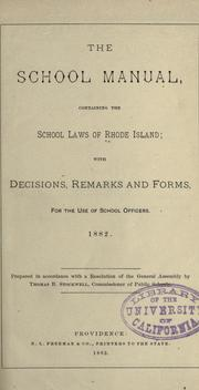 Cover of: The school manual by Rhode Island.
