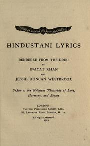 Cover of: Hindustani lyrics | Inayat Khan