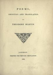 Cover of: Poems, original and translated by Martin, Theodore Sir