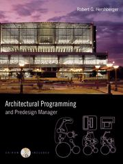 Cover of: Architectural Programming & Predesign Manager by Robert G. Hershberger