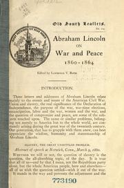Cover of: Abraham Lincoln on war and peace, 1860-1864 by Abraham Lincoln