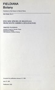 Cover of: Five new species of Brunfelsia from South America (Solanaceae) by Timothy Plowman