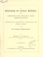 Cover of: A text-book of Indian history | George Uglow Pope