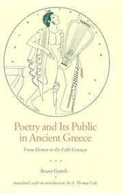Cover of: Poetry and its public in ancient Greece | Bruno Gentili