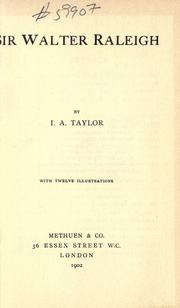 Cover of: Sir Walter Raleigh by Taylor, Ida A.