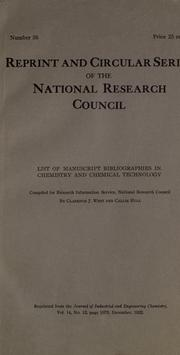 Cover of: List of manuscript bibliographies in chemistry and chemical technology | Clarence J. West