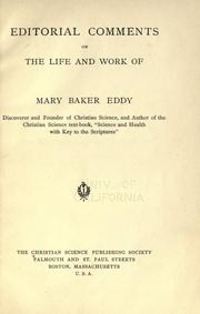 Cover of: Editorial comments on the life and work of Mary Baker Eddy by Christian Science Publishing Society.