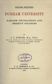 Cover of: Durham University by J. T. Fowler